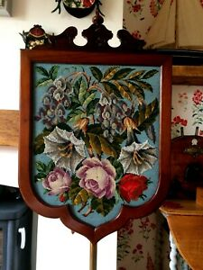 Victorian Walnut Pole Fire Screen Banner Embroidered Tapestry Floral Bead Work