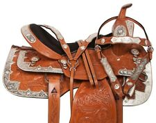 "USED 16"" WESTERN PLEASURE CHESTNUT TOOLED LEATHER HORSE SHOW SILVER SADDLE TACK"