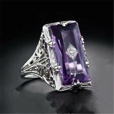 Huge Princess Purple Amethyst Women 925 Silver Jewelry Engagement Ring Size 8