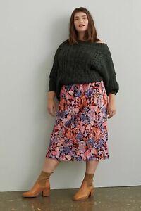 Anthropologie Maeve Tilda Pleated Velvet Midi Skirt Pink Floral Sz 2X PLUS