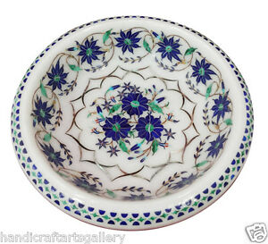 "7"" White Marble Fruit Bowl Lapis Lazuli Floral Inlay Daining Decorative H2010"