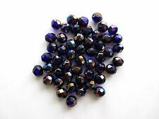 50 Vitrail Czech Glass Round Faceted Fire Polished Beads Size 8mm