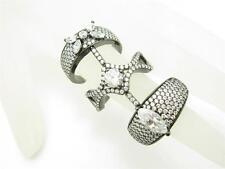 Black Gold Sterling Silver Diamond Set White Sapphire Pave Long Vintage Ring