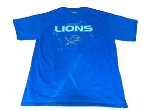 Detroit Lions T Shirt L Mens Blue Short Sleeve