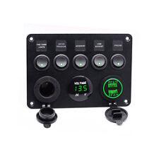 5Gang Auto Schaltpanel Schalter Kippschalter Grün LED Voltmeter USB Bus Boot DEC
