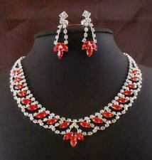 Red Necklace Earring Set Bridal Bridesmaid Wedding Party Prom