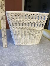 Vintage Wicker Cottage Beach Waste Paper Basket Shabby Chic White trash can