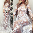 Sexy! Womens Elegant Long Sleeve Lace Tulle Floral See-through Maxi Summer Dress