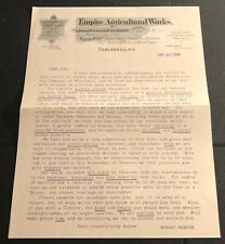 ORIGINAL 1890s ADVERTISING LETTER EMPIRE AGRICULTURAL WORKS COBLESKILL NEW YORK