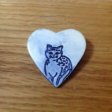 Vintage Heart Ceramic Cat Pin