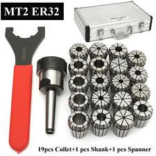MT2 ER32 M10 Collet Set Shank Chuck Holder & Spanner For Milling Machine W/ Box
