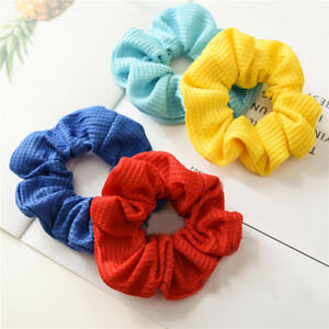 Women Soft Cotton Solid Colorful Scrunchie Elastic Hair Ponytail Ring Headwear