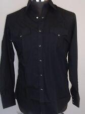ELY CATTLEMAN Mens Black Western Shirt Pearl Snaps 15.5 X 34 NWOT