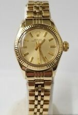 Vintage 1970s Rolex Oyster Perpetual Solid 14k Gold Ladies Watch 6700