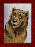 """Original art by Bastet """"Tricky Bear"""" OOAK hand painted ACEO"""