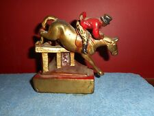 ARMOR BRONZE BOOKEND EQUESTRIAN JOCKEY ELECTROFORMED ORIGINAL PAINT AS IS RARE!