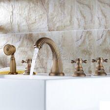 Antique Brass Deck Mount Roman Tub Filler Faucet 5-Holes 3 handles Tap stf053