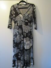 PER UNA - Stretch Viscose Dress Brown Grey Cream  - Size 12 Long