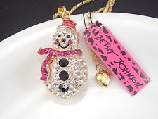 Betsey Johnson Cute inlay Crystal Snowman Pendant Necklace # F258