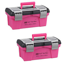 2 x Plastic Tool Box Maintenance Toolbox Home Toolbox Child Pink Storage Box