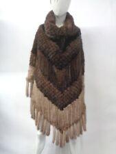 Bright//élégant Best American mink fur Knitted Lanterne Cape//Châle//Poncho Winered