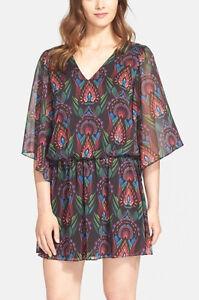 Alice + Olivia 'Lyla' ~ Ombre Deco Print Chiffon Blouson Dress 2 NEW $368