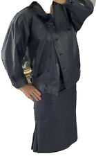 Gorgeous Vintage Suit Jacket Skirt Calfskin Navy Size 6-8