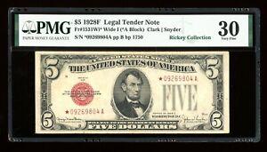 DBR 1928-F $5 Legal Wide I STAR Fr. 1531Wi* PMG 30 Serial *09269804A
