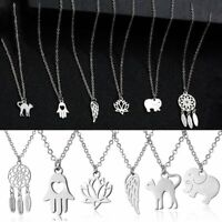 Women Silver Stainless Steel Pendant Animal Chain Dreamcatcher Necklace Jewelry