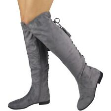 Womens Ladies Over The Knee High BOOTS Lace Tie up Low Heel Flat Shoes Size Grey UK 4 / EU 37 / US 6