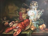 Still Life Artwork Oil Painting Red Lobster Serving Tray Grapes After Caravaggio