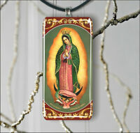 LADY OF GUADALUPE VIRGIN RECTANGULAR GLASS PENDANT 2 SIZES -jht5Z