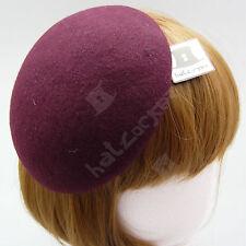 FASHION Wool Felt Women Beret Fascinator Ladies Pillbox Hat Party DIY | Burgundy