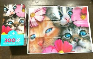 Cats And Flowers PUZZLE 300 Oversized Pieces Ceaco Avanti BRAND NEW & Unopened!