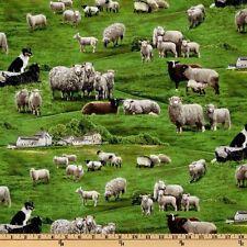 "Farm Animals by Elizabeth's Studio, Sheep in Grassy Green Pasture- 44"" Wide"