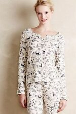 NWT Sz S Anthropologie Eloise Thermal Sleep Shirt Deer Fox Owl Lounge Small Top