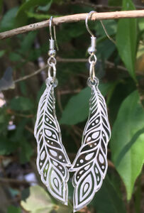 Peacock Feathers Laser Engraved Earrings Clear Acrylic Gift Ideas Laser Cut