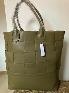 TOPSHOP weave green olive PU tote shopper large bag  new WITH TAGS