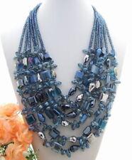 "19.5"" 6Strds Multi Shape Blue Crystal Necklace"