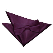 DQT Plain Solid Pre-Tied Mens Bow Tie & Hanky Pocket Square Set + FREE Cufflinks