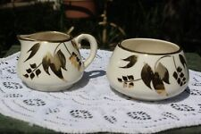 Vintage.Sandland Ware.Off White, W/ Gold Tone Trim.Creamer & Sugar Bowl