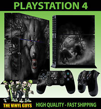 PS4 Skin Dark Wolf Horror Werewolf Skulls Sticker New + 2 Pad decal Vinyl STOOD