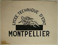 Beau DESSIN Ancien Projet Affiche Lycée Technique MONTPELLIER c.1940 Y. MILIN #8