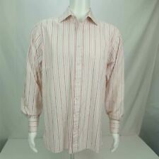 PINK Superfine two Fold Dress Shirt Long Sleeve Stripes White Pink Men's Size 16