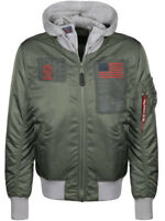 ALPHA INDUSTRIES D-TEC BLOOD CHIT BOMBER JACKET IN VINTAGE GREEN / BNWT /