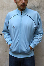 Adidas Sky Blue Vintage Sport Tracksuit Top Jacket Shiny Mens UK 34/36 M LOOK