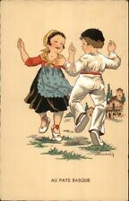 French Children Dancing - AU PAYS BASQUE A/S Renaudin - Postcard #1