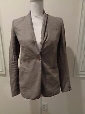HELMUT LANG toupe brown Crinkle Textured Long Sleeve Casual Blazer Sz 2