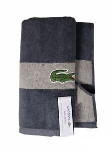 "【 Lacoste】 Bath Towel 100% Cotton 30"" x 52"" Charcoal Gray Big Crocodile Logo 🐊."