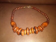 Handmade Finished Wood and Beads Collar